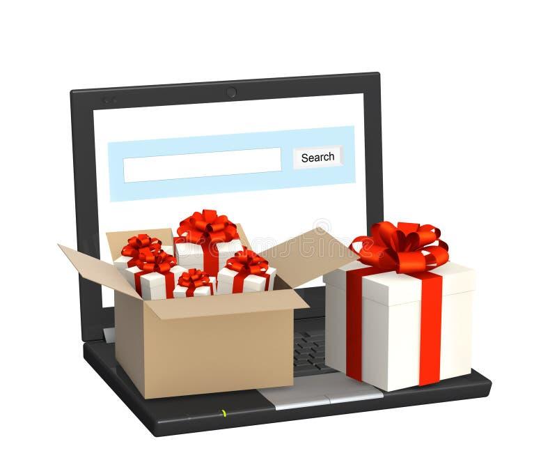 Ordinateur portatif et beaucoup de cadeaux illustration stock
