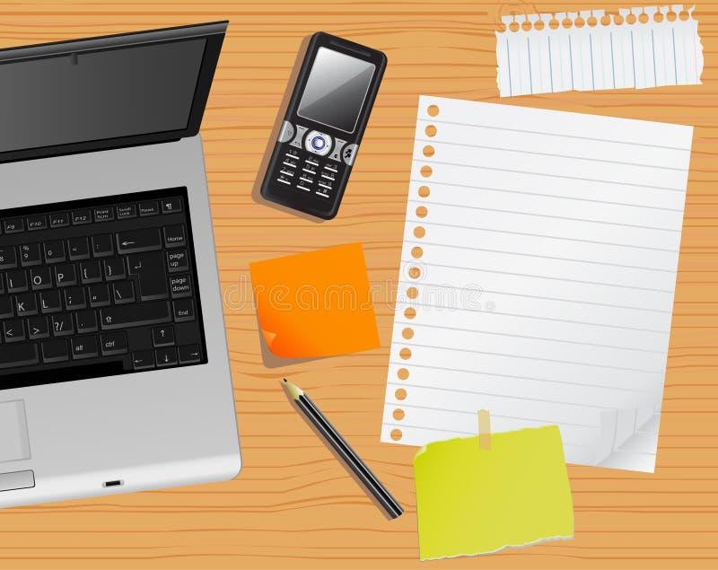 Ordinateur portatif et bureau illustration stock