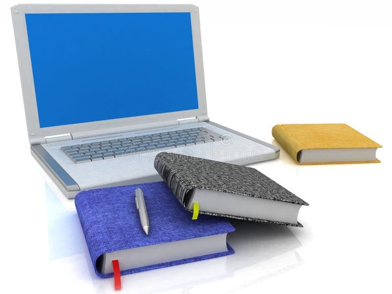 Ordinateur portatif et cahiers illustration libre de droits