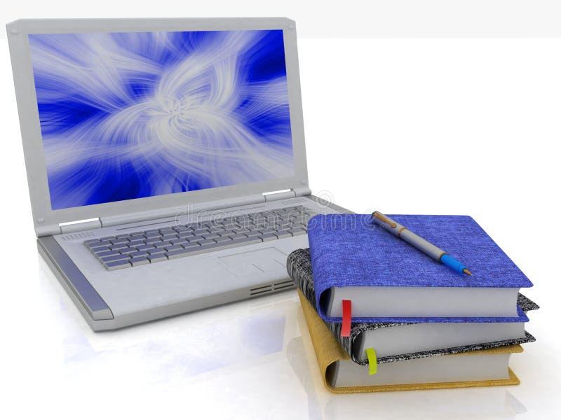Ordinateur portatif et cahiers illustration stock