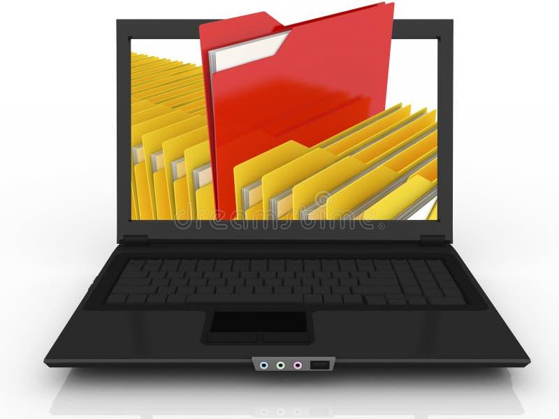 Ordinateur portatif et fichiers abstraits illustration stock