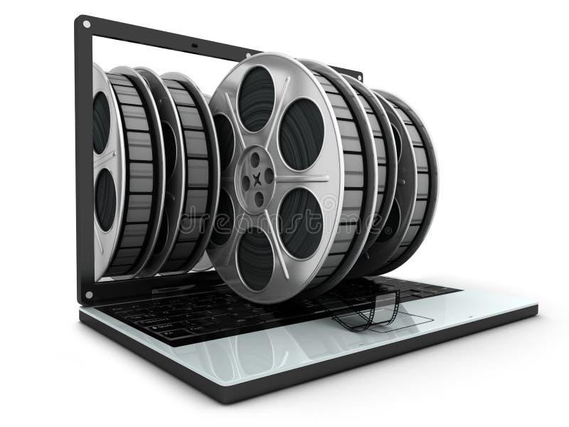 Ordinateur portatif et films illustration libre de droits