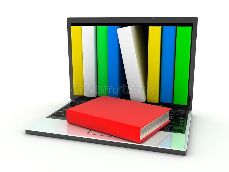Ordinateur portatif et livres illustration de vecteur