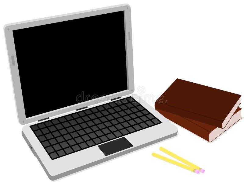 Ordinateur portatif et livres illustration stock