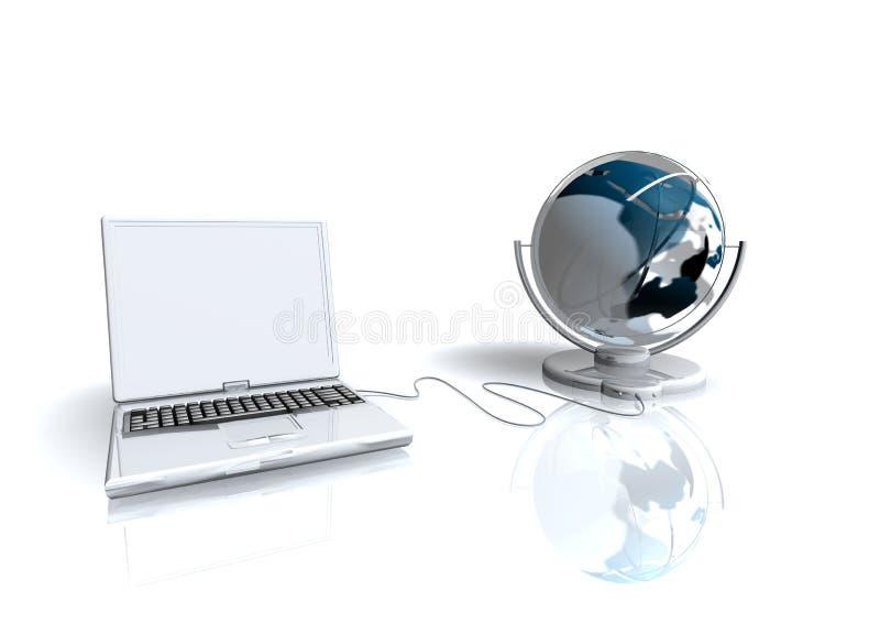 Ordinateur portatif et monde illustration de vecteur