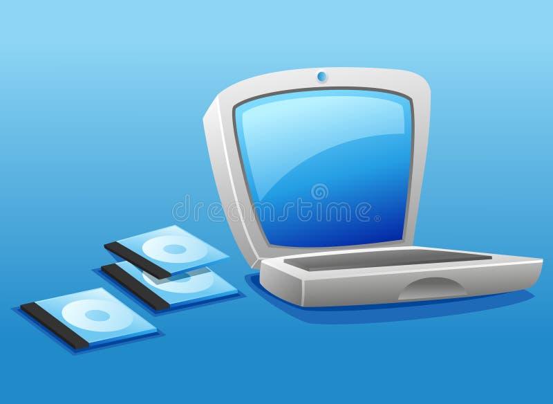 Ordinateur portatif et pile CD illustration de vecteur