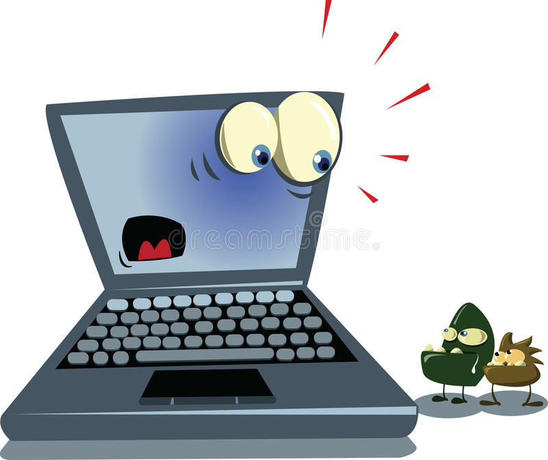 Ordinateur portatif et virus illustration stock