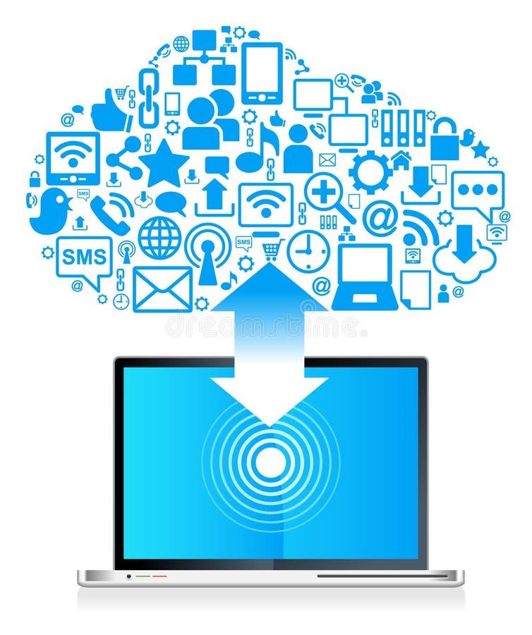 Ordinateur portatif social global de réseau illustration de vecteur