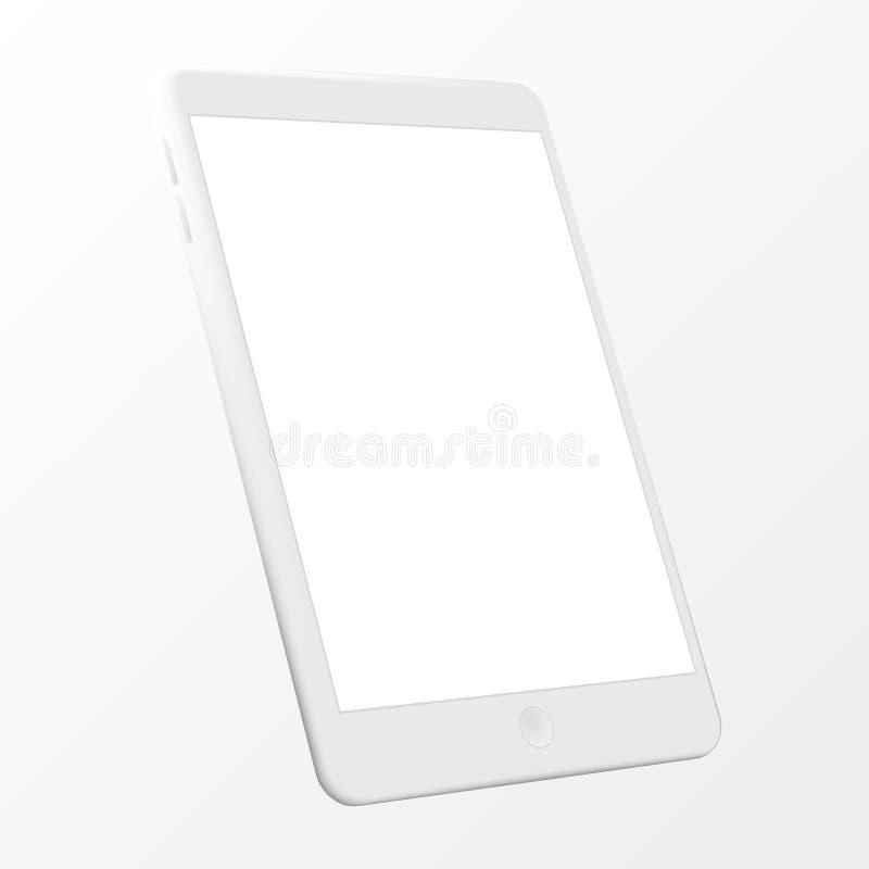 Ordinateur réaliste de PC de tablette avec l'écran blanc d'isolement sur le fond blanc Maquette de vecteur de Tablette au-dessus  illustration libre de droits