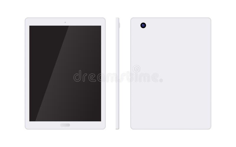 Ordinateur réaliste de PC de tablette avec l'écran blanc d'isolement sur le fond blanc Maquette de vecteur de Tablette au-dessus  illustration stock