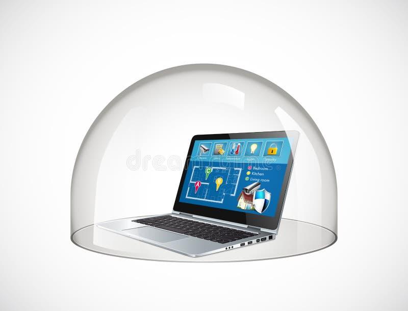 Ordinateur sûr de dôme en verre de concept de protection d'ordinateur portable contre des virus illustration de vecteur