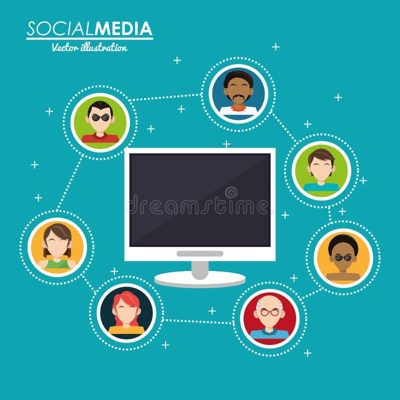 Ordinateur social d'interaction de groupe de media numérique illustration stock