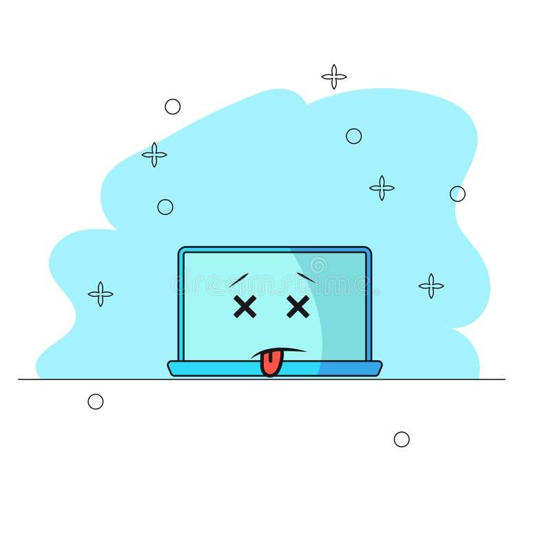 Ordinateur tomb? en panne Caractère drôle d'ordinateur de bande dessinée de panne avec avec les yeux fermés et la langue traînant illustration libre de droits