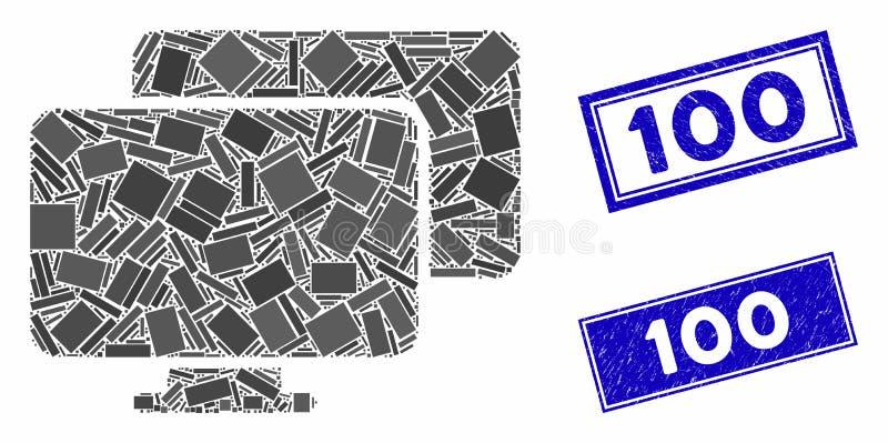 Ordinateurs Mosaïque et rectangle gratté 100 phoques illustration libre de droits
