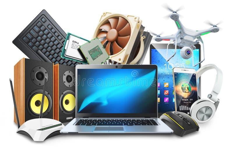 Ordinateurs, périphériques mobiles et logo numérique d'accessoires illustration de vecteur