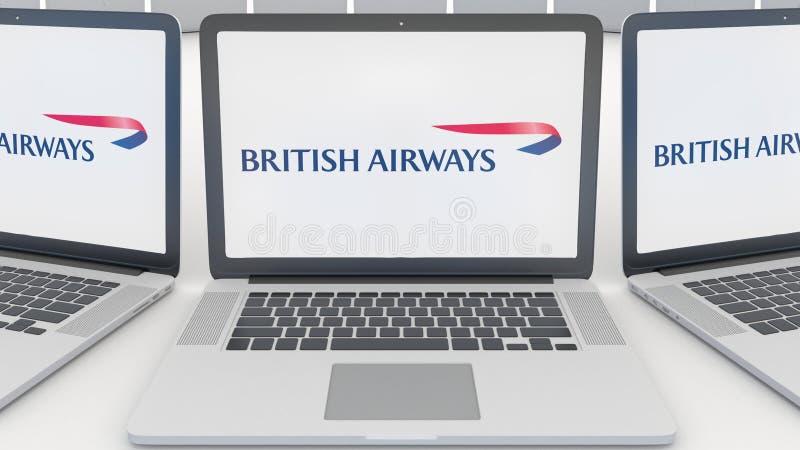 Ordinateurs portables avec le logo de British Airways sur l'écran Rendu conceptuel de l'éditorial 3D d'informatique illustration stock