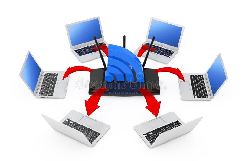 Ordinateurs portables disposés en cercle autour d'un routeur et d'un WiF modernes de WiFi illustration libre de droits