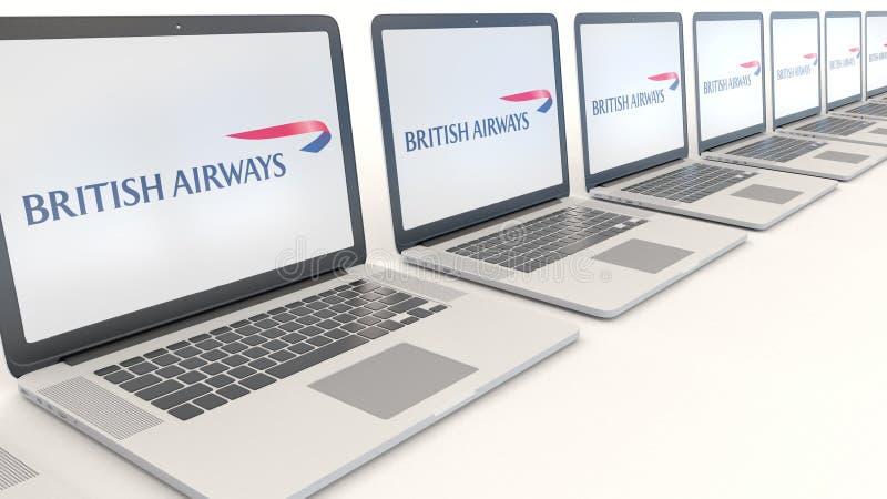 Ordinateurs portables modernes avec le logo de British Airways Rendu conceptuel de l'éditorial 3D d'informatique illustration de vecteur