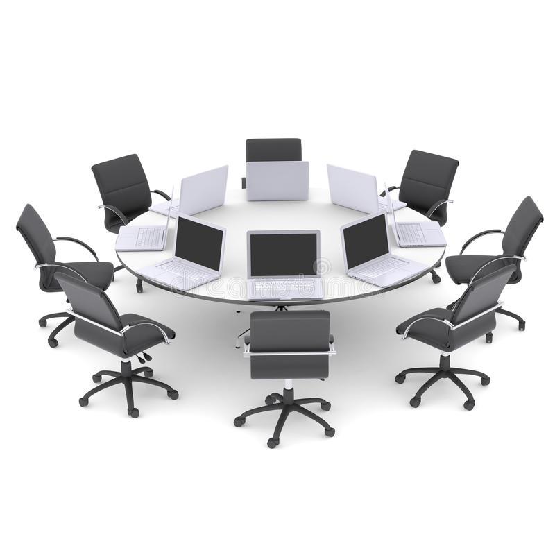Ordinateurs portables sur la table ronde et les chaises de bureau illustration stock