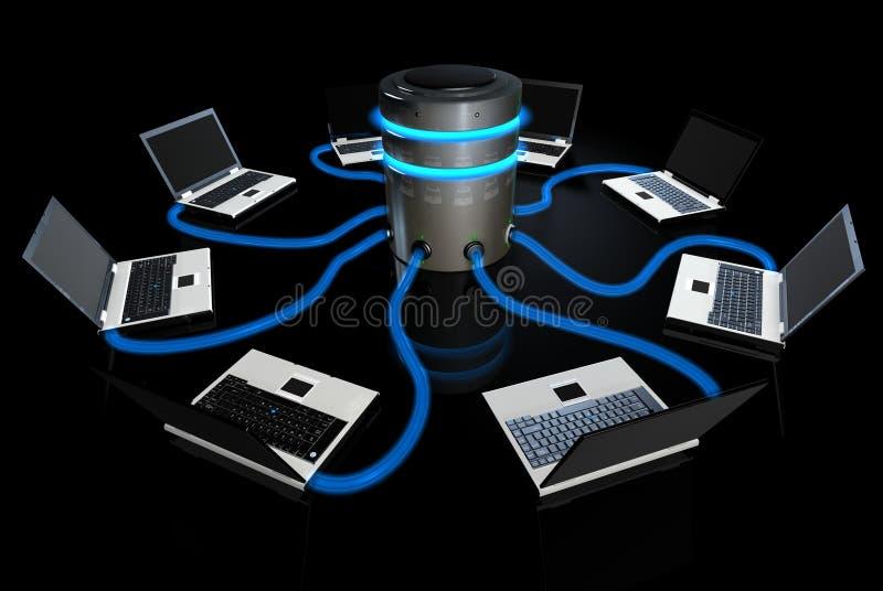 Ordinateurs portatifs communiquant avec le serveur central illustration de vecteur