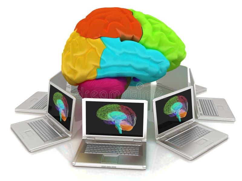 Ordinateurs reliés au cerveau central illustration stock