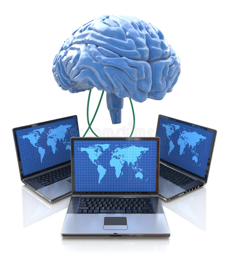 Ordinateurs reliés au cerveau central illustration libre de droits