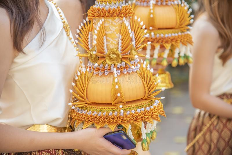 Ordination. Items needed for ordination in temple in thai stock photography