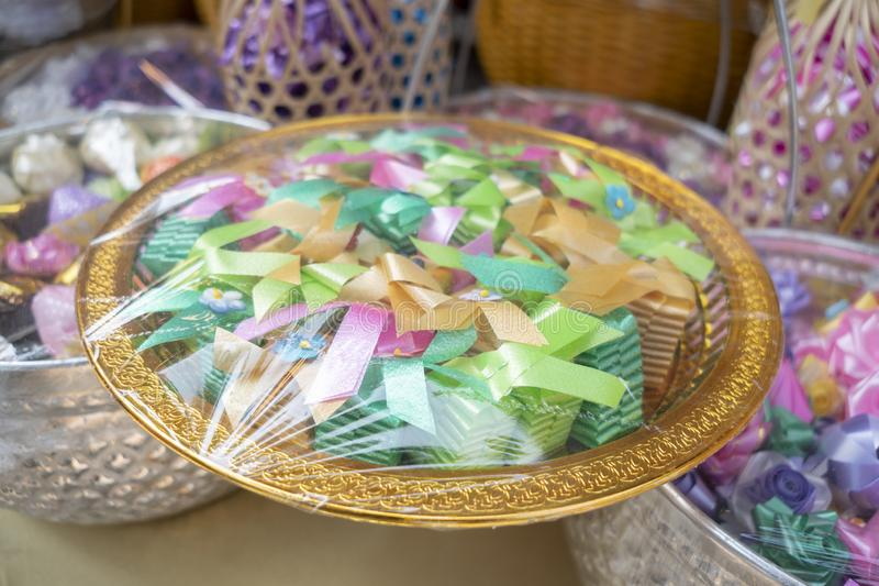 Ordination. Items needed for ordination in temple in thai royalty free stock photo