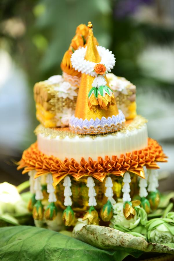 Ordination. Items needed for ordination in temple in thai royalty free stock image
