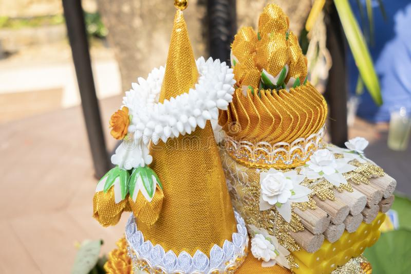 Ordination. Items needed for ordination in temple in thai stock image