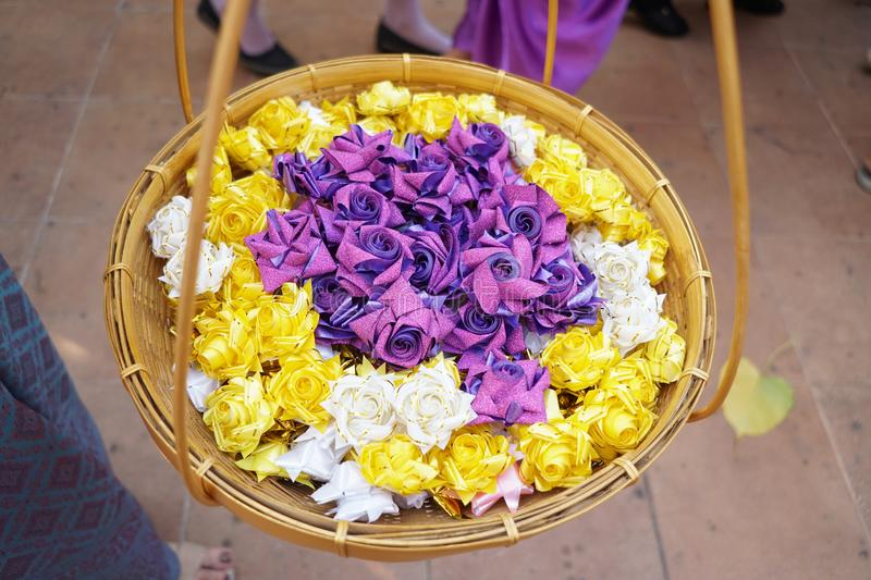 Ordination. Items needed for ordination in temple in thai stock photo