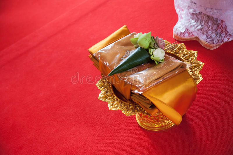 Ordination in temple. Items needed for ordination in temple stock photo
