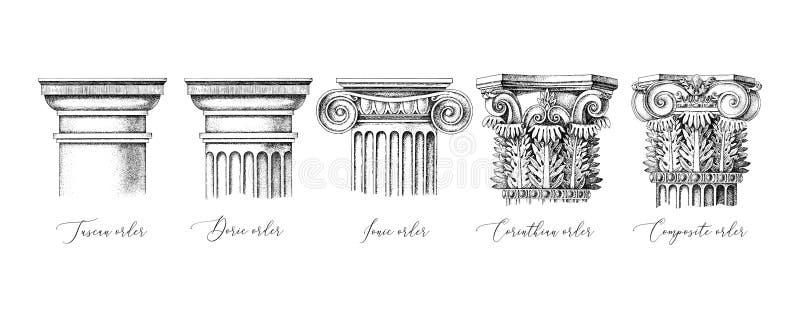 Ordine architettonico 5 tipi di capitali classici - toniano, dorico, ionico, corinthiano e composito royalty illustrazione gratis
