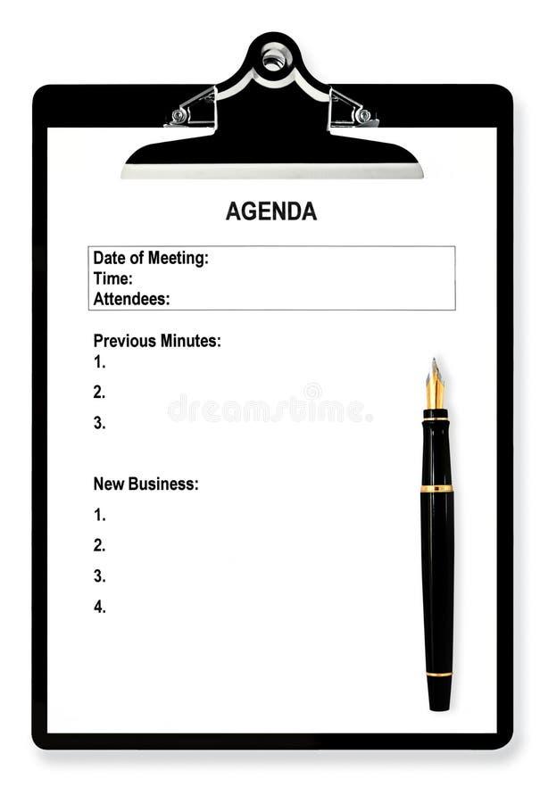 Ordine del giorno di riunione immagini stock