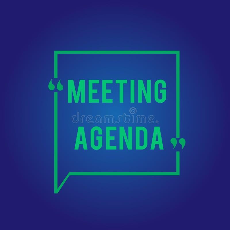 Ordine del giorno di riunione del testo di scrittura di parola Il concetto di affari per un ordine del giorno fissa le chiare asp illustrazione vettoriale