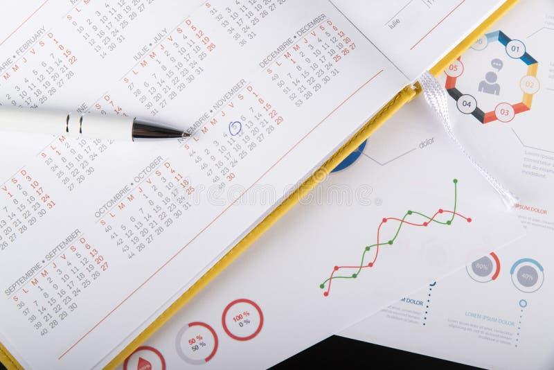 Ordine del giorno personale e grafici grafici immagini stock