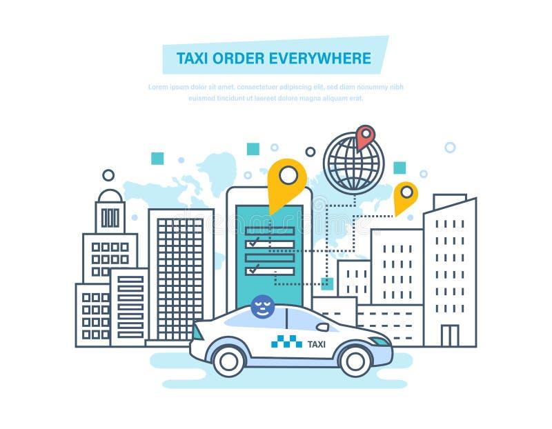 Ordine del taxi dappertutto Taxi online, chiamata dal telefono, applicazione mobile royalty illustrazione gratis