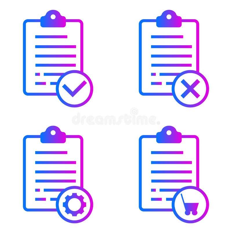 Ordine positivo, negativo, online, liste di manutenzione illustrazione di stock