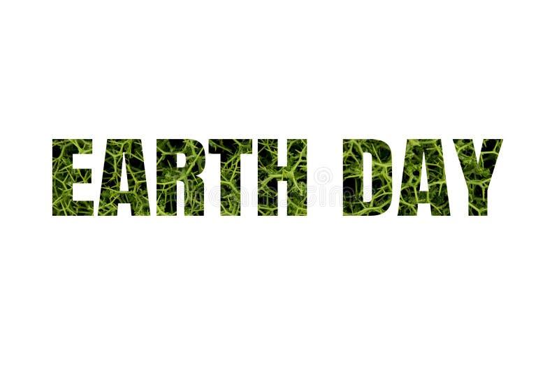 Ordjorddagen gjorde av den isolerade gr?na v?xten p? vit bakgrund stock illustrationer