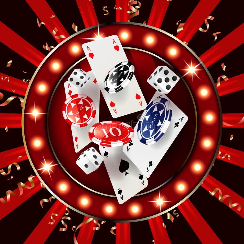 Ordkasinot som omges av en lysande ram och attribut av att spela, på en explosionbakgrund stock illustrationer