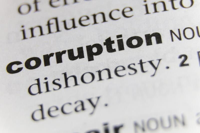 Ordkorruptionslutet upp arkivfoto
