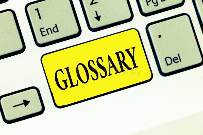 Ordlista för ordhandstiltext Affärsidé för alfabetisk lista av ord om ämnestext eller dialekt royaltyfri fotografi