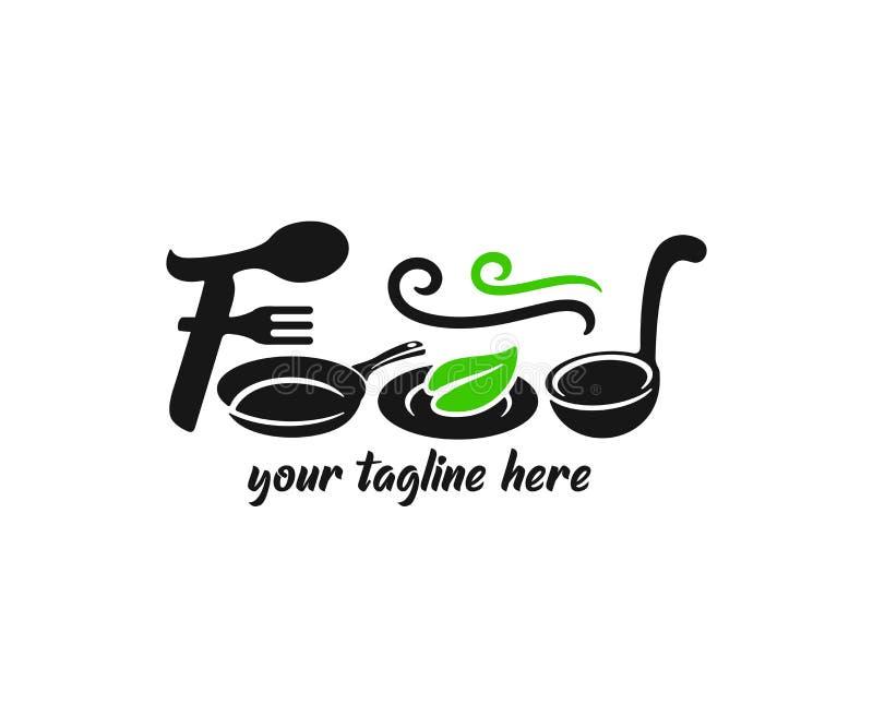 Ordmattypografi som består av gaffel, skeden, pannan, plattan med ett blad och sleven, logodesign Restaurang, kafé, frukost och m royaltyfri illustrationer