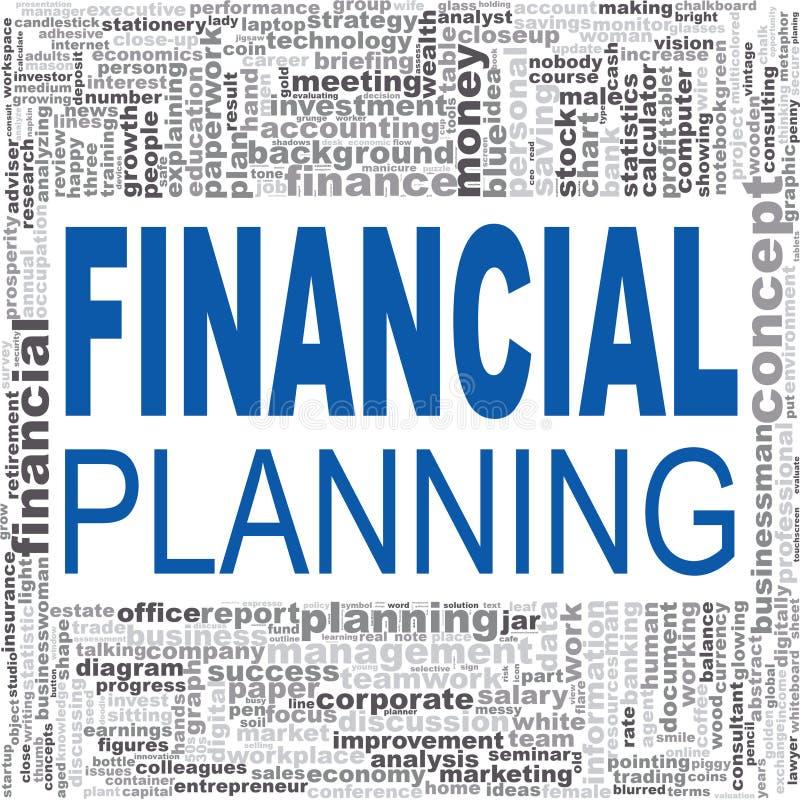 Ordmoln för finansiell planläggning royaltyfri illustrationer