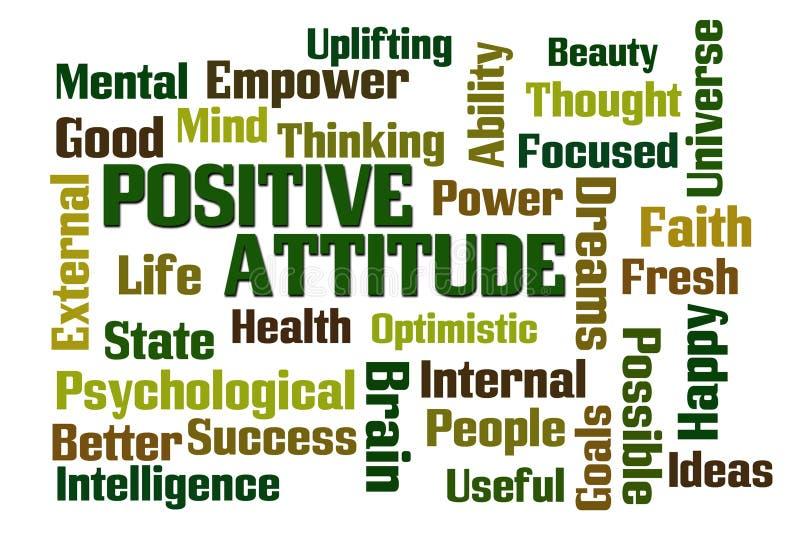 Ordmoln för positiv inställning stock illustrationer