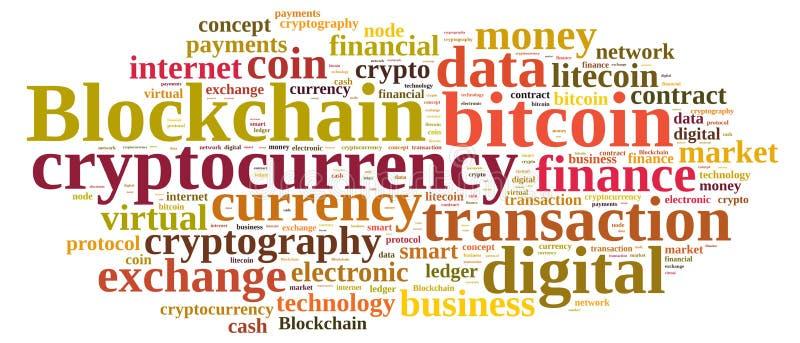 Ordmoln med Blockchain royaltyfri illustrationer