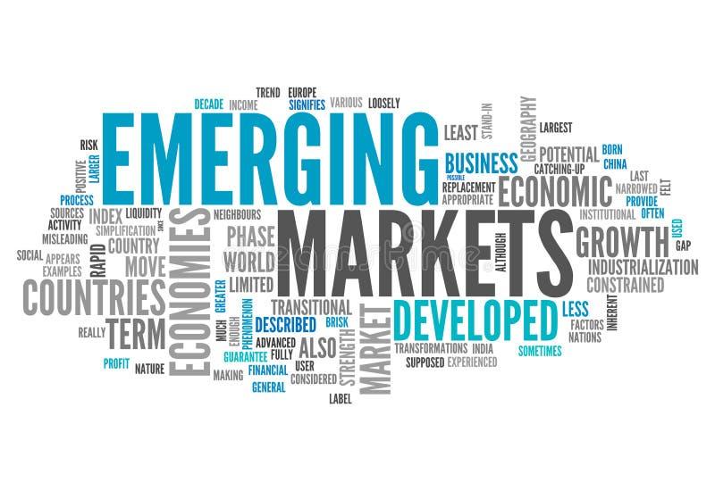 Ordmolntillväxtmarknader stock illustrationer