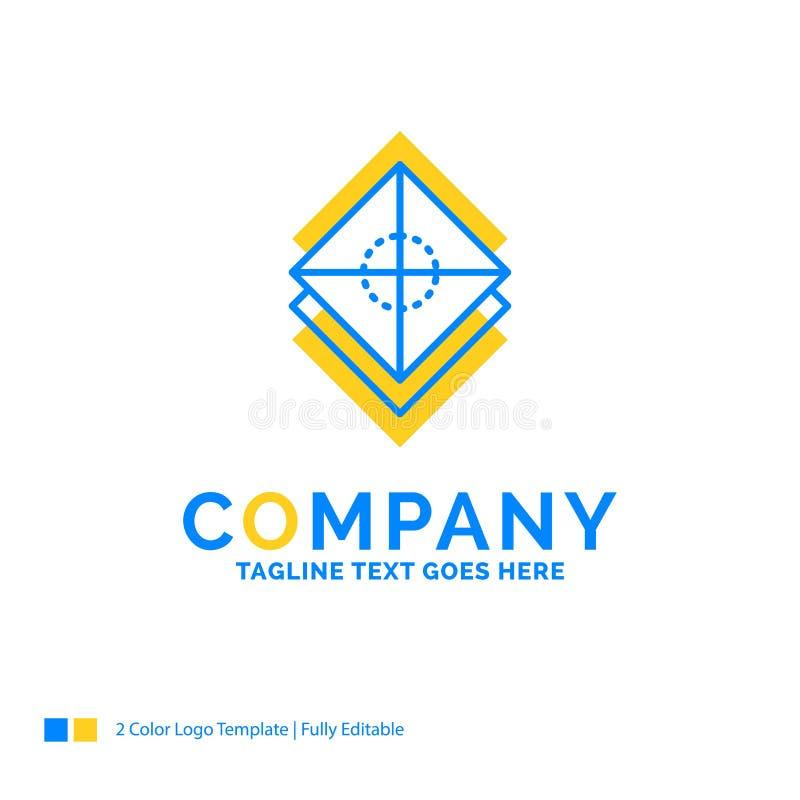 Ordna, planlägg, lager, bunten, blå gul affärslogo för lager royaltyfri illustrationer