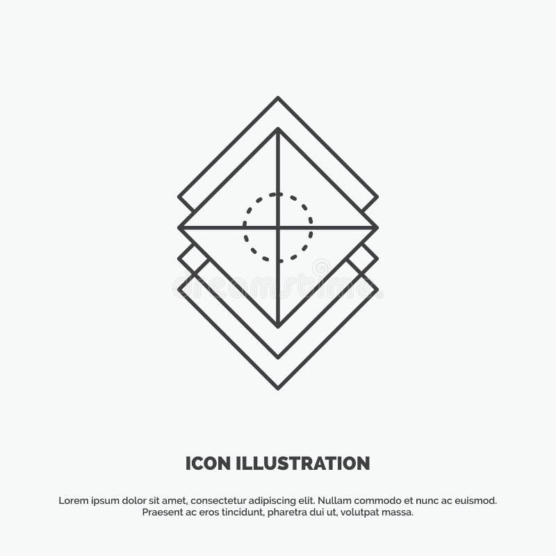Ordna, planlägg, lager, bunten, lagersymbol Linje gr?tt symbol f?r vektor f?r UI och UX, website eller mobil applikation stock illustrationer