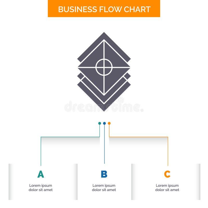 Ordna, planl?gg, lager, bunten, design f?r diagram f?r lageraff?rsfl?de med 3 moment Sk?rasymbol f?r presentationsbakgrundsmall vektor illustrationer
